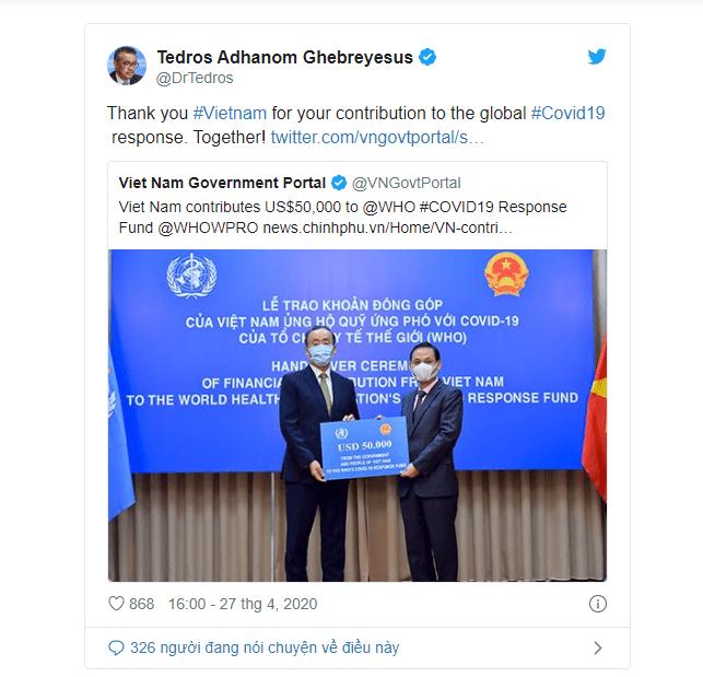 Tổng giám đốc WHO lên Twitter cảm ơn Việt Nam